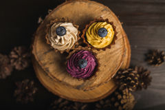 Cupcakes on the wood Stock Photography