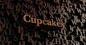 Cupcakes - Wooden 3D rendered letters/message Royalty Free Stock Images