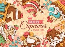 Cupcakesachtergrond vector illustratie