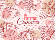 Cupcakesachtergrond royalty-vrije illustratie