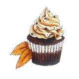 Cupcakeschets op wit Stock Afbeelding