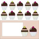 Cupcakesetiket Stock Afbeeldingen