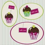 Cupcakesmarkeringen met liefde Stock Foto's