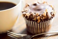 Cupckae шоколада и кофе конец вверх Стоковая Фотография