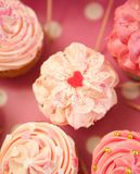 Pink Heart Shape Cupcake Stock Photography
