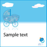 Cupe blue baby boy pram Royalty Free Stock Images