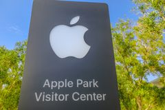 Apple Park sign. Cupertino, CA, United States - August 12, 2018: Apple sign of the new Apple Headquarters and Apple Park Visitor Center in Tantau Avenue of stock photography