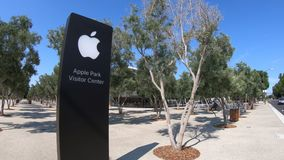 Apple Park store sign stock video footage