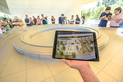 Apple Park 3d map. Cupertino, CA, United States - August 12, 2018: 3d map demonstration with iPad view of the new Apple Headquarters at Apple Park Visitor Center stock photo