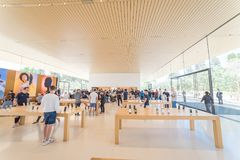 Apple merchandise retail store at Apple Park Visitor Center royalty free stock photos