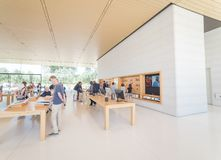 Apple merchandise retail store at Apple Park Visitor Center stock images