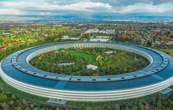 Free Cupertino, California, USA - November 12, 2018, Aerial View Of The City Of Cupertino, Apple&x27;s Headquarters In The Form Royalty Free Stock Images - 216126349