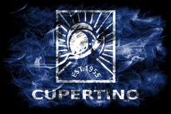 Cupertino city smoke flag, California State, United States Of Am. Erica Royalty Free Stock Images
