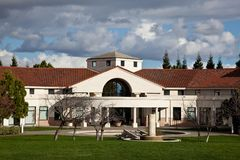 Cupertino Memorial Park. Popular 28-acre park includes acres of lawn that are ideal for family picnics, a lake, an amphitheater, lighted softball field, six Stock Photography