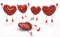 cupid ευτυχείς καρδιές που το πλάνο σειράς Στοκ Εικόνα