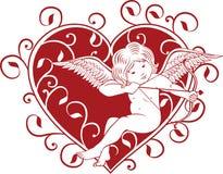 Cupid και καρδιά Στοκ εικόνα με δικαίωμα ελεύθερης χρήσης