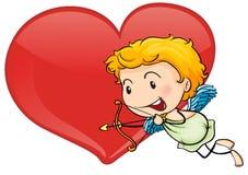 Cupid και καρδιά Στοκ Εικόνα