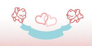 Cupid και κορδέλλα λίγος άγγελος Στοκ φωτογραφίες με δικαίωμα ελεύθερης χρήσης