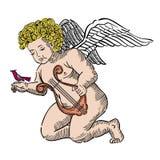 Cupid με την άρπα και το πουλί Στοκ Εικόνα