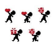 Cupid με την καρδιά και την ανθοδέσμη των λουλουδιών στο επίπεδο σχέδιο Απεικόνιση αποθεμάτων