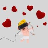 Cupid με το σύνολο εικονικής πραγματικότητας Στοκ Εικόνα