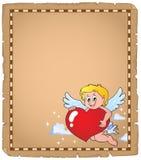 Cupid που κρατά την τυποποιημένη περγαμηνή 2 καρδιών Στοκ Εικόνες