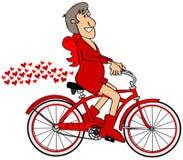 Cupid που οδηγά ένα κόκκινο ποδήλατο διανυσματική απεικόνιση