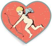 Cupid στην ανασκόπηση καρδιών. Στοκ Φωτογραφία