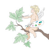 Cupid. Hand drawn illustration of little cupid.Drawn in Illustrator with charcoal brush to achieve retro handmade look Royalty Free Stock Image