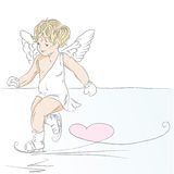Cupid. Hand drawn illustration of little cupid.Drawn in Illustrator with charcoal brush to achieve retro handmade look Stock Photo