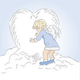 Cupid. Hand drawn illustration of little cupid.Drawn in Illustrator with charcoal brush to achieve retro handmade look Stock Image