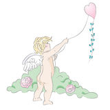 Cupid. Hand drawn illustration of little cupid.Drawn in Illustrator with charcoal brush to achieve retro handmade look Stock Photos