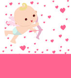 Cupid. Valentine's day cupid and pink hearts stock illustration