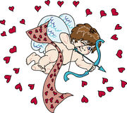 Cupid. Little Cupid with bow aiming for another victim of love Royalty Free Stock Photography
