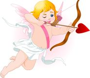 Cupid. Illustration of a Valentine's Day cupid ready to shoot his arrow royalty free illustration