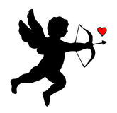 Cupid. Silhouette of Cupid with arrow and bow Stock Photo
