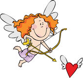Cupid. Valentine's card with funny cupid vector illustration