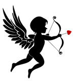 Cupid. An illustration of cupid with bow and arrow isolated in white. An additional Vector .Eps file available. ( you can use elements separately royalty free illustration
