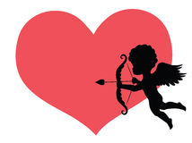 Cupid. Silhouette of a cupid and a big red heart on the background stock illustration