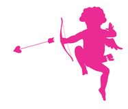 Cupid. Shooting cupid vector silhouette. eps8 Stock Photography