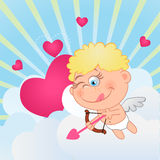 Cupid. Takes aim in the clouds stock illustration