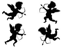 Cupid. Isolated 4 different motions of Cupid royalty free illustration