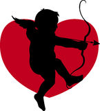 Cupid. And a heart Silhouette Vector Illustration
