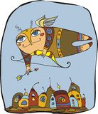 Cupid. Flies above fantastic city stock illustration