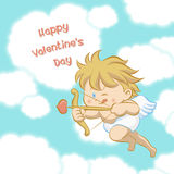 Cupid aiming with bow and arrow. Cupid flying among heart shaped cloud, aiming with bow and arrow with one eye close and stick-out tongue to celebrate Valentine` Stock Images
