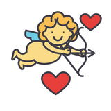Cupid angel with bow, happy saint valentine`s day, love concept. Stock Images