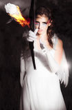 Cupid Angel Of Romance Setting Hearts On Fire Royalty Free Stock Photo