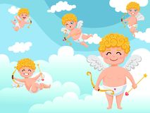 Cupid angels characters flying with bow and arrow clouds background. Happy Valentine`s Day. Vector illustration decorative elemen. T on Valentine stock illustration