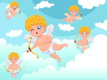 Cupid angels characters flying with bow and arrow clouds background. Happy Valentine`s Day. Vector illustration decorative elemen. T on Valentine royalty free illustration