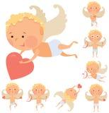 Cupid angels icons set Stock Image